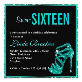 Glam Aqua Glitter High Heel Sweet Sixteen Invite