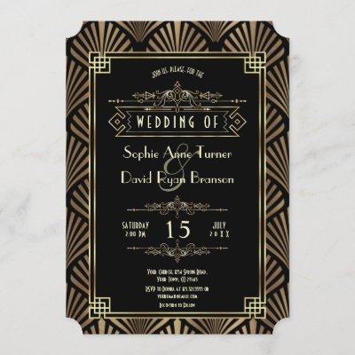Glam Art Deco Black Gatsby 1920s Style Wedding Invitation