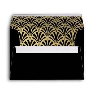 Glam Art Deco Black wth Faux Gold Accents Wedding Envelope
