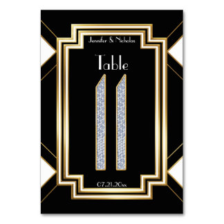 Glam Art Deco Diamond Wedding Table Number Eleven Card