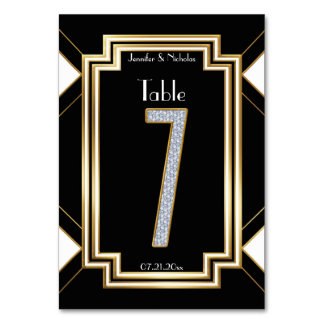 Glam Art Deco Diamond Wedding Table Number Seven Card