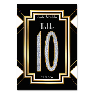 Glam Art Deco Diamond Wedding Table Number Ten Card
