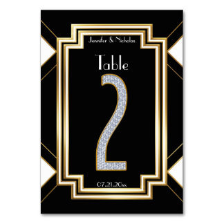 Glam Art Deco Diamonds Wedding Table Number Two Card