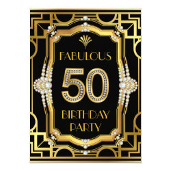 Glam Art Deco Fabulous 50 Birthday Party Card