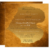 Glam Autumn Fall Golden Leaves Birthday Party Invitation