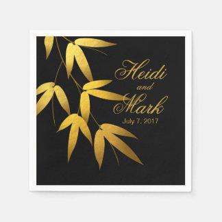 Glam Bamboo Leaves Gold Foil   black Napkin