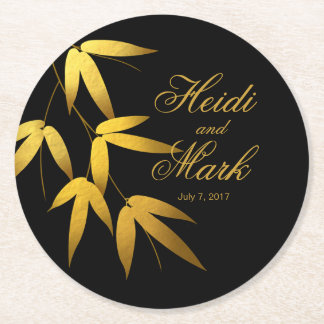 Glam Bamboo Leaves Gold Foil | black Round Paper Coaster