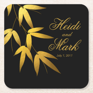 Glam Bamboo Leaves Gold Foil | black Square Paper Coaster