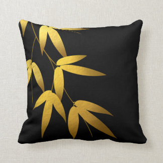 Glam Bamboo Leaves Gold Foil | black Throw Pillow