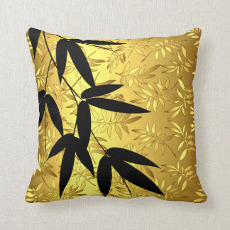 Glam Bamboo Leaves Gold Foil | gold Throw Pillow