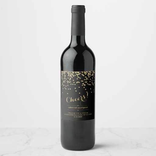 Glam Black and Faux Gold Confetti Wedding | Cheers Wine Label