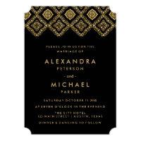 Glam Black and Gold Eastern Inspired Wedding Card (<em>$2.41</em>)