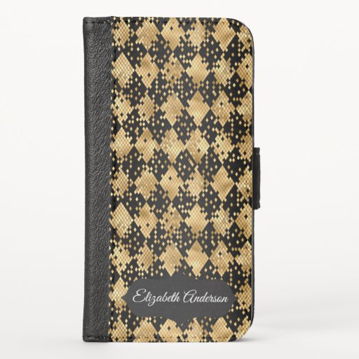 Glam Black and Gold Faux Snake Skin Personalized i iPhone X Wallet Case
