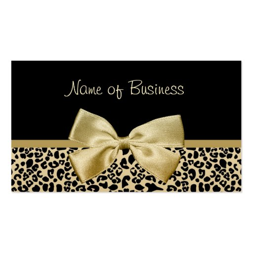 Glam Black And Gold Leopard Print Gold Ribbon Business Card