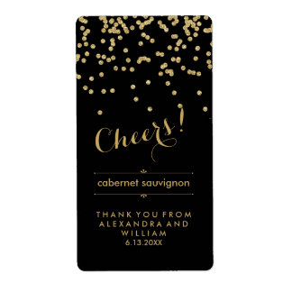 Glam Black and Gold Wedding Wine Bottle Label