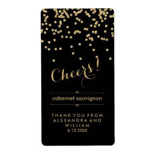 Glam Black and Gold Wedding Wine Bottle Label