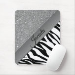 Glam Black and White Zebra Mouse Pad