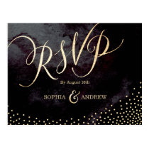 Glam black faux gold glitter calligraphy RSVP Postcard