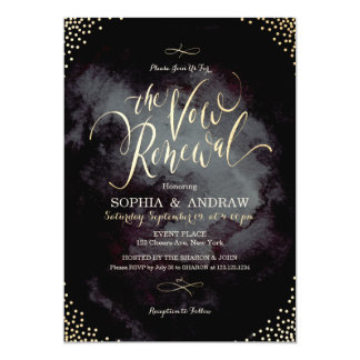 Glam black gold calligraphy vow renewal card