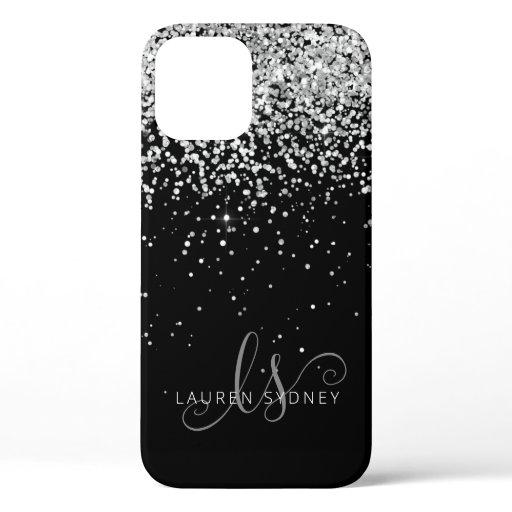 Glam Black Silver Glitter Monogram Name iPhone 12 Pro Case