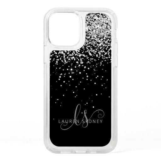 Glam Black Silver Glitter Monogram Name Speck iPhone 12 Pro Case