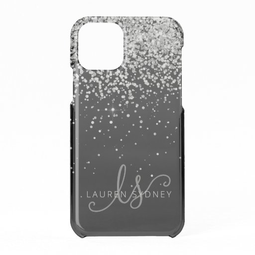 Glam Black Silver Glitter Monogram Name iPhone 11 Pro Case