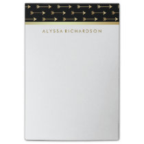 Glam Black with Faux Gold Foil Trendy Arrows Post-it Notes