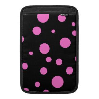 Glam Black with Pink Polka Dots MacBook Sleeves