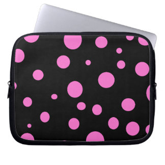 Glam Black with Pink Polka Dots Laptop Sleeves