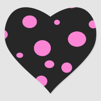 Glam Black with Pink Polka Dots Heart Sticker