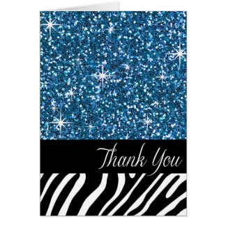 Glam Bling Glitter Zebra Thank You | blue Card