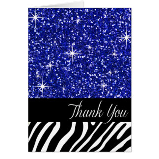 Glam Bling Glitter Zebra Thank You | cobalt Card