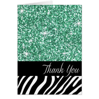 Glam Bling Glitter Zebra Thank You | mint Card