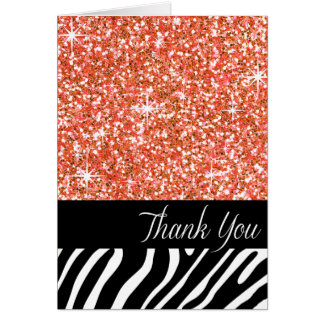 Glam Bling Glitter Zebra Thank You | peach Card