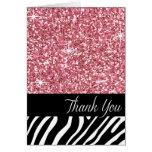 Glam Bling Glitter Zebra Thank You | pink Card