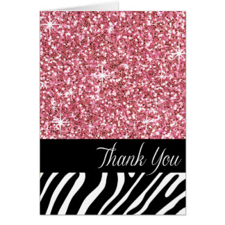 Glam Bling Glitter Zebra Thank You | pink Card