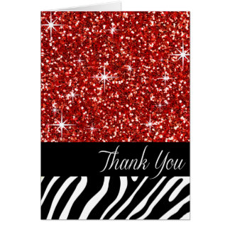 Glam Bling Glitter Zebra Thank You | red Card