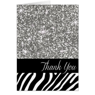 Glam Bling Glitter Zebra Thank You | silver Card