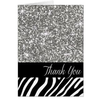 Glam Bling Glitter Zebra Thank You   silver Card