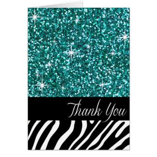 Glam Bling Glitter Zebra Thank You | teal Greeting Card
