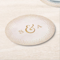 Glam blush faux glitter rose gold wedding monogram round paper coaster