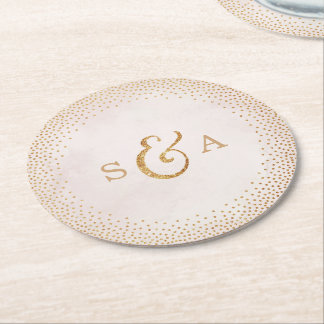 Glam blush faux glitter rose gold wedding monogram round paper coaster