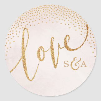 Glam blush glitter rose gold calligraphy love classic round sticker