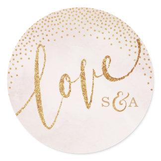 Glam blush glitter rose gold calligraphy love classic round sticker