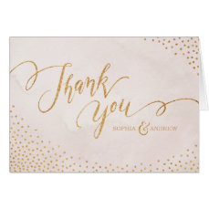 Glam blush glitter rose gold calligraphy thank you card
