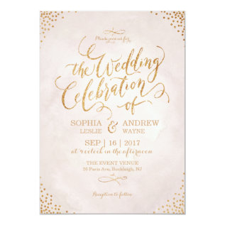 Glam Blush Glitter Rose Gold Calligraphy Wedding Card at Zazzle