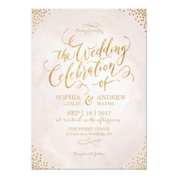 Glam Blush Glitter Rose Gold Calligraphy Wedding Card by AvaPaperie at Zazzle