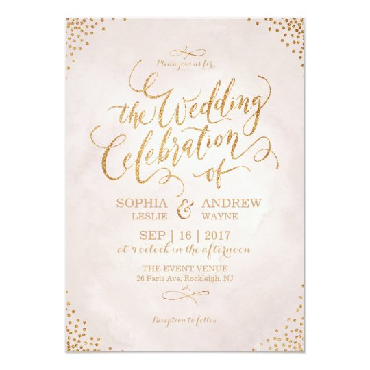 Glam blush glitter rose gold calligraphy wedding card Zazzlecom
