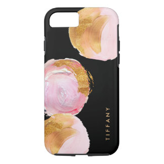Glam Blush Pink and Gold Circles on Black iPhone 8/7 Case