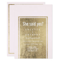 Glam blush pink faux gold modern Engagement Party Invitation